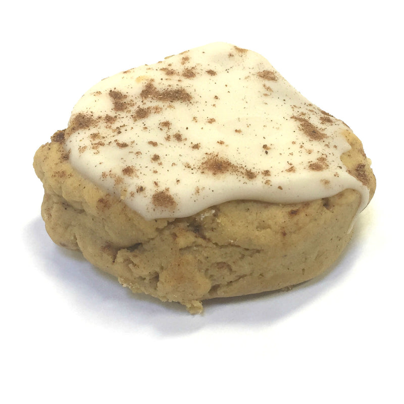 Gluten-free Iced Pumpkin: baked with all-purpose gluten-free flour. Packed with fresh pumpkin and topped with pumpkin, cream cheese frosting!  Available: September-December