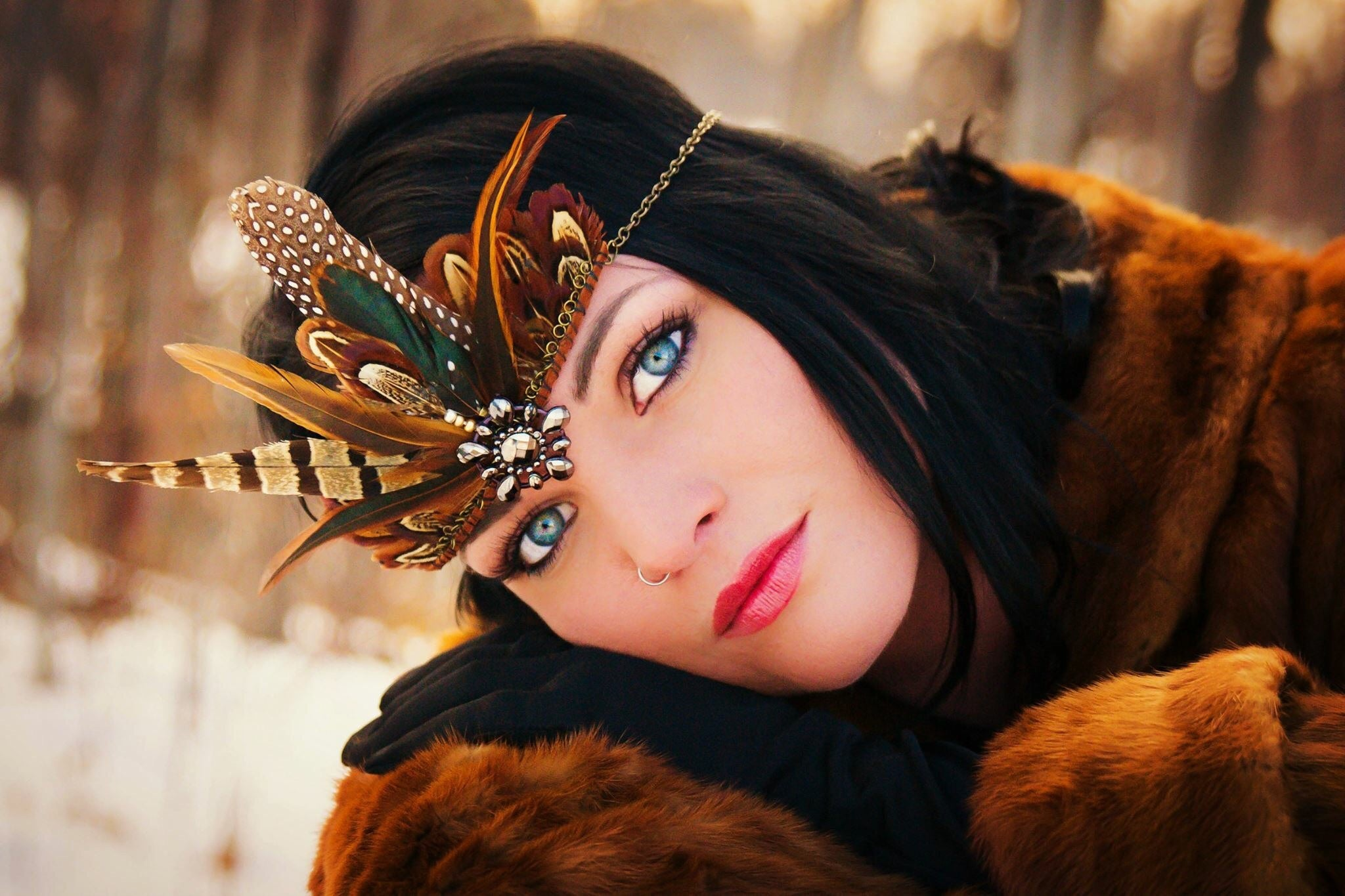 Woodland Feather Chain Crown