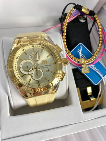 Technomarine unisex 45mm Gold + Pulseras Gratis - techno305