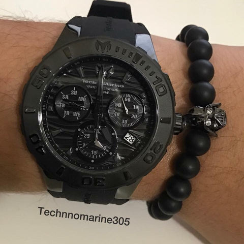 Technomarine Full Black Black Swiss Watch + Pulsera - techno305