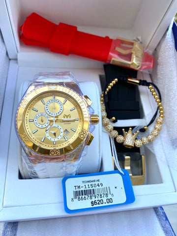 TECHNOMARINE  GOLD AND GOLD MAQUINARIA SUIZA 3 CORREAS + Pulsera Gratis - techno305