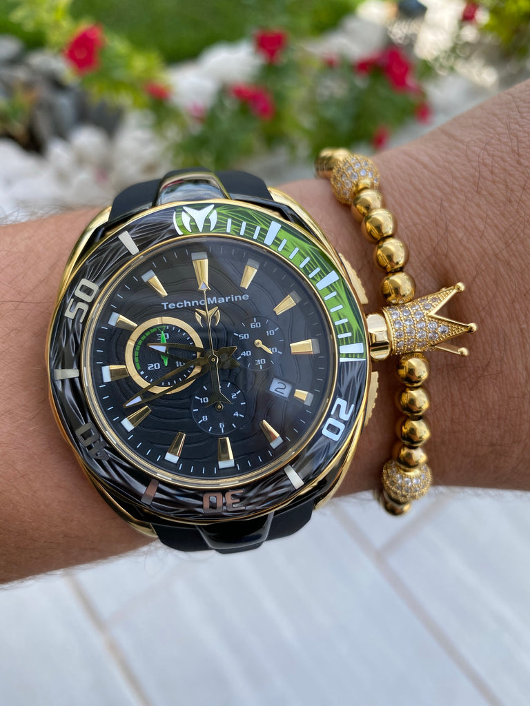 NEW Technomarine  Gold and Black W/ Green  + Pulsera Gratis - techno305