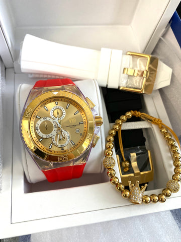 TECHNOMARINE GOLD AND GOLD  46MM  3 CORREAS + Pulsera Gratis - techno305