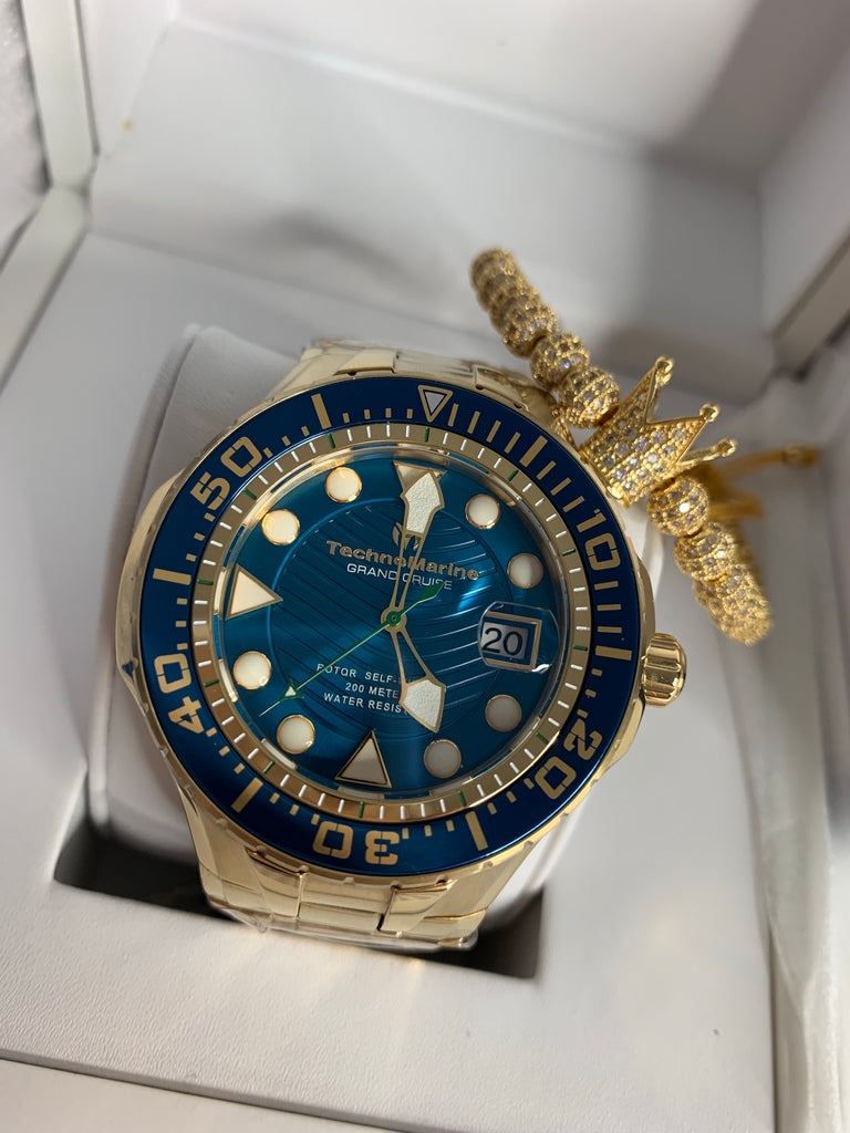 NEW 2019 Technomarine TM-118075 Grand Cruise Blue Reef Gold/Blue Dial AUTOMATIC + Pulsera - techno305