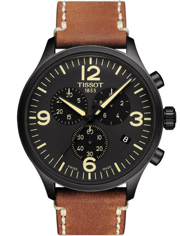 TISSOT CHRONO XL BLACK DIAL BROWN LEATHER MENS - techno305