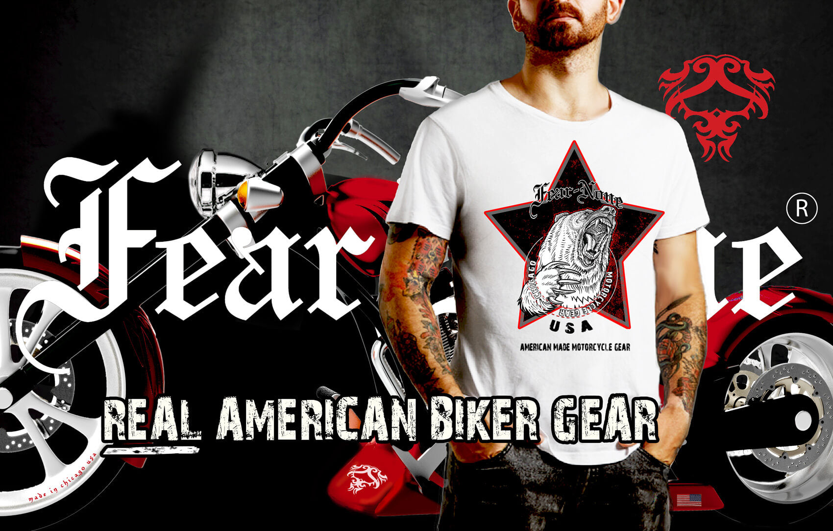 fear none motorcycle gear's short sleeve  summer white collection
