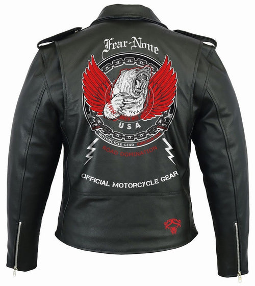 Flying Bear Rider Leather Highway Jacket