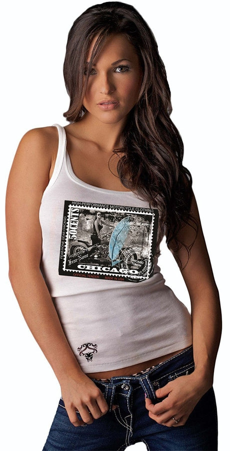 Ladies Blue Stamp Patch Tank(TM)
