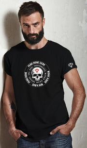 Black Coin Skull Rider White Logo