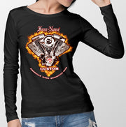 Womens Long Sleeve Fire-ENGINE Rider Shirt (Plain Back)