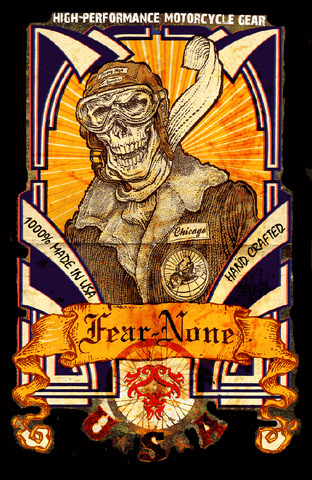 Official FEAR-NONE Aviator-Flying Skull Rider Poster