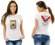 Womens Gold Train Rider White Tee