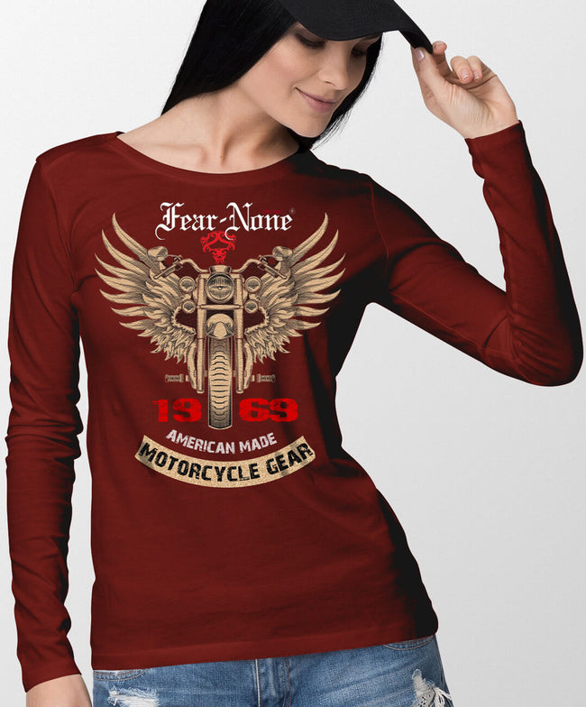 "Women's ""Gold Wings"" Red Long Sleeve T Shirt"