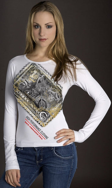 Gold & Black Foil Racing Stamp WHITE Shirt