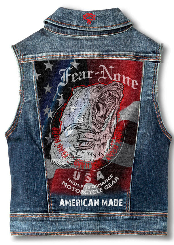 Womens Bear Rider Denim Highway Vest