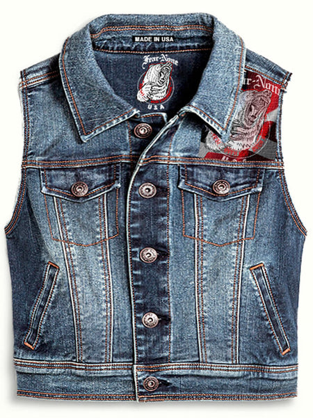 "Womens  ""Golden Bear & Guns"" Denim Highway Vest"