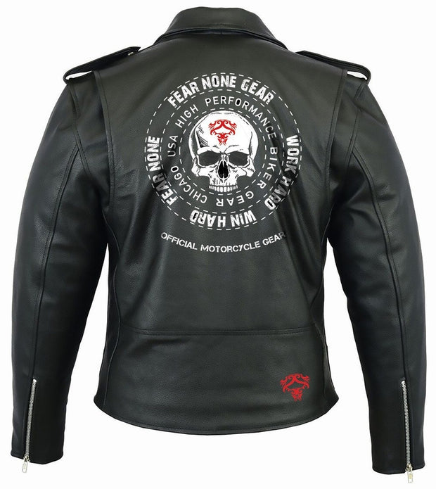 Skull Coin Rider Leather Highway Jacket