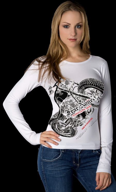 Womens Sunburst Skull Rider Shirt (WHITE)