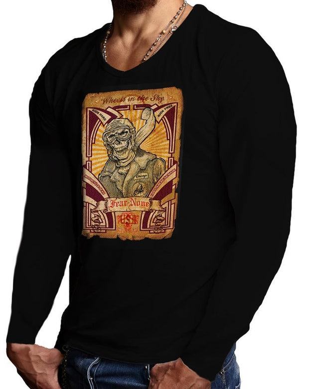Men's Skull Pilot Black Long Sleeve Rider Shirt