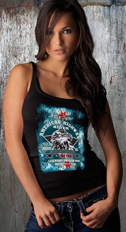 Womens BLUE Eagle Highway Rider Tank