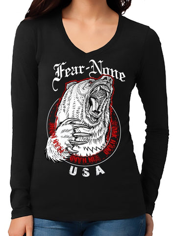 Women's King Bear V-Neck Long Sleeve