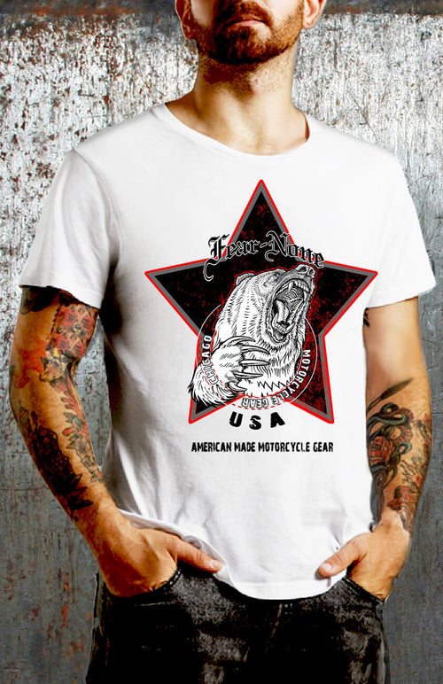 Men's Vintage Black Star Highway Bear Rider (WHITE SHIRT)
