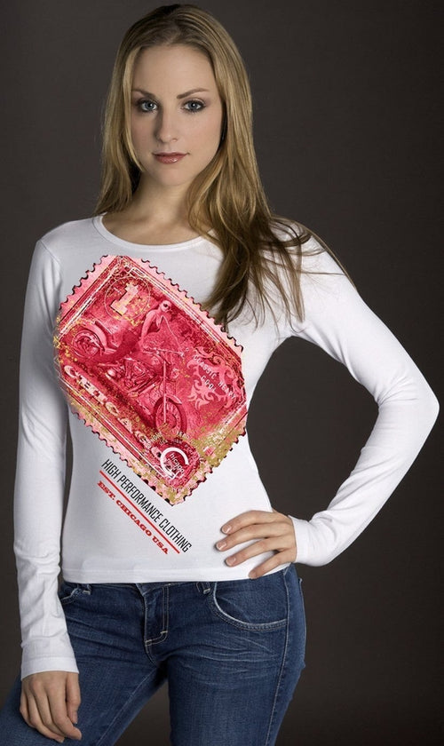 Pink and Gold Foil Racing Stamp WHITE Shirt