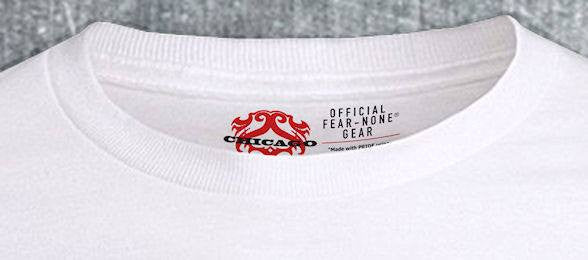 Gold and Red Foil Racing Stamp WHITE Shirt