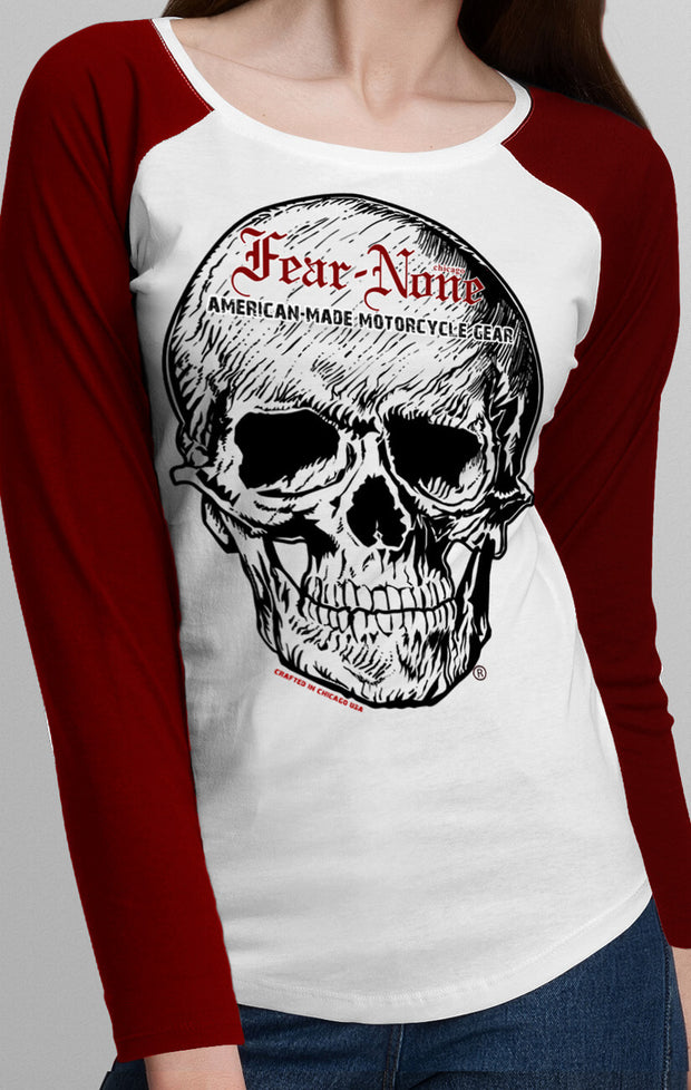 "Women's ""Skull"" Red Baseball T Shirt"