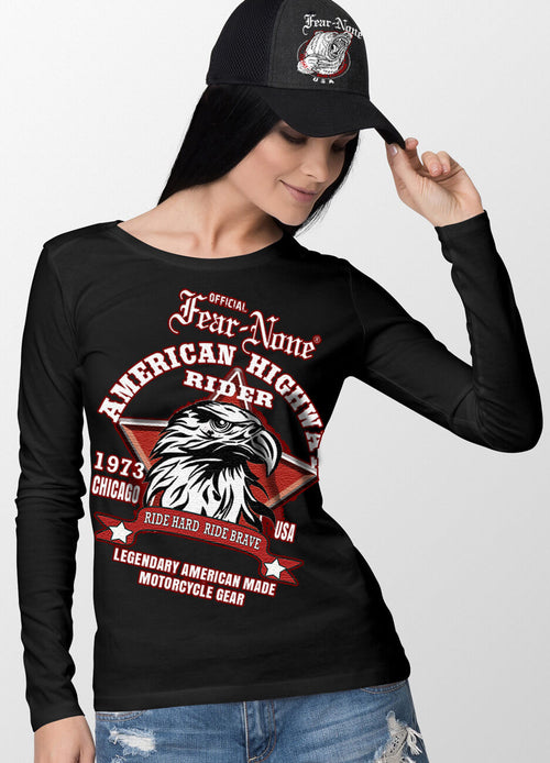 Womens Oversized Red Star Eagle Rider Shirt