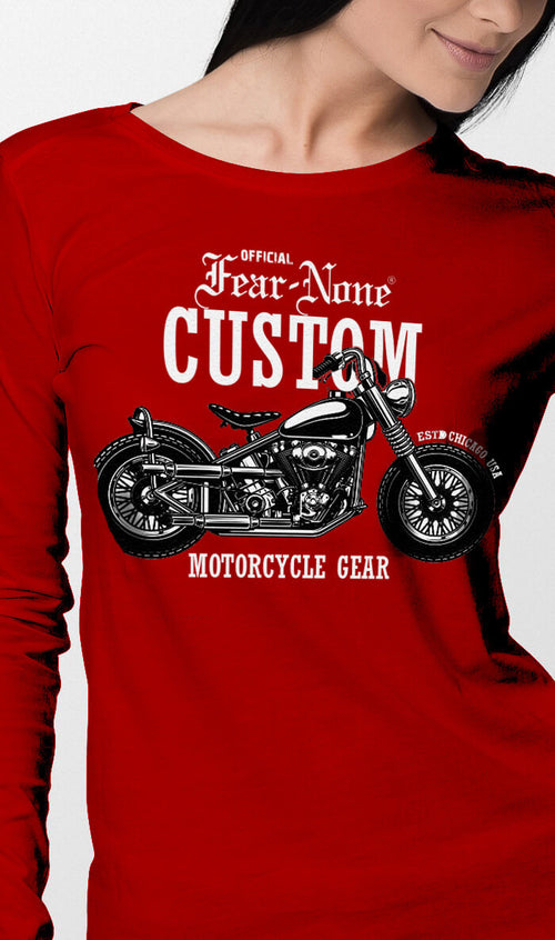 Womens Red Classic Outlaw Custom Rider Shirt