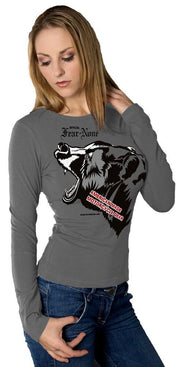Womens Gray Mama Bear Rider (Long Sleeve)
