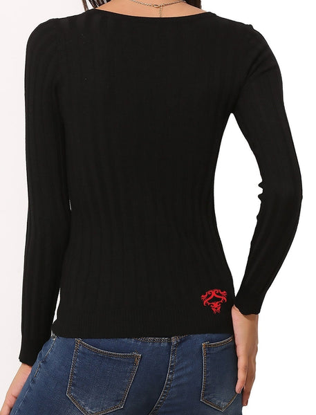 Womens V-Neck Red Train Rider (Long Sleeve)
