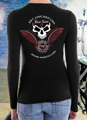 Womens Back Skull and Feather Rider
