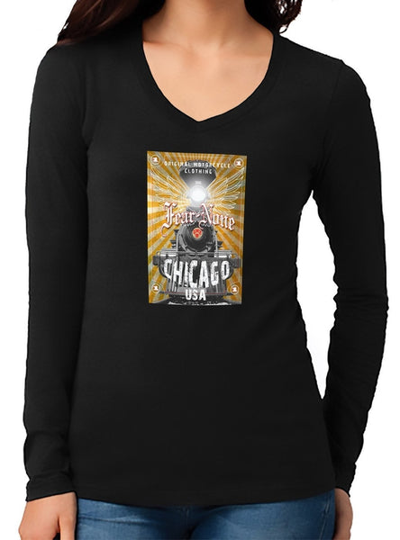 Womens V-Neck Gold Train Rider (Long Sleeve)