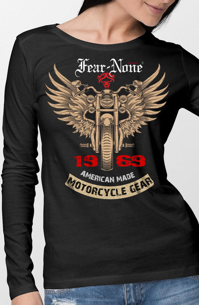 "Women's FEAR-NONE ""Gold Wings"" Long Sleeve T Shirt"