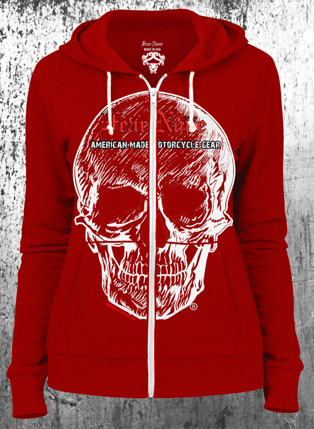 "Womens American ""Big Skull"" Red Hoodie"