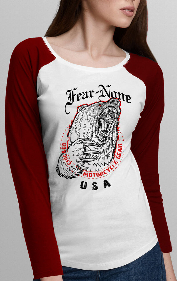 "Women's Red & White ""Bear"" Rider Baseball T Shirt"