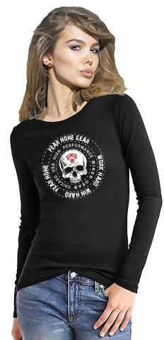 Long Sleeve Womens Skull Coin Rider