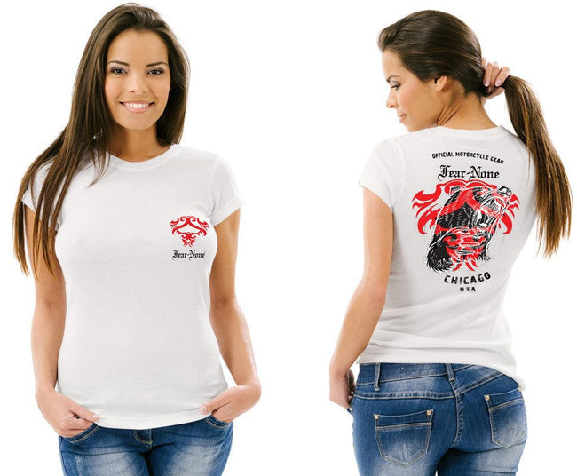 Womens Red Bear White Tee