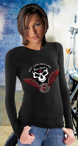 Ladies Classic Skull and Feather Rider