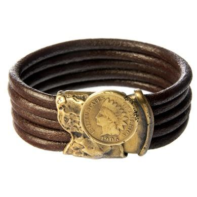 Native American Screw Lock Leather Bracelet