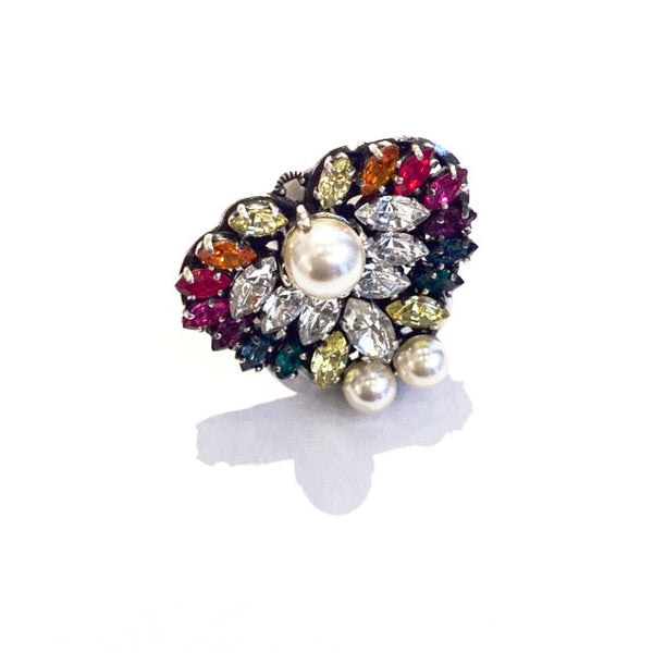 Crystal and Pearl Cluster Ring w/ Multi colored Crystals
