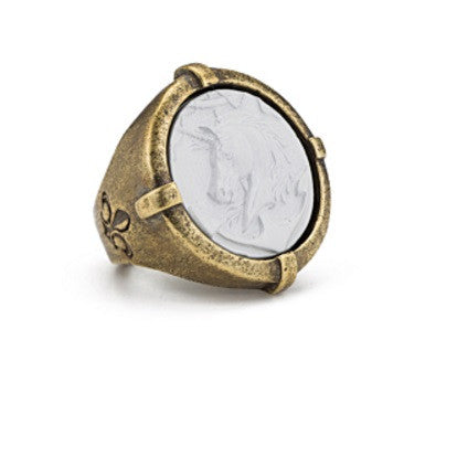 Antiqued Brass Signet Ring w/ White Colonies Medallion