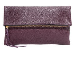 Anastasia Clutch in Plum Pebbled Cow Leather