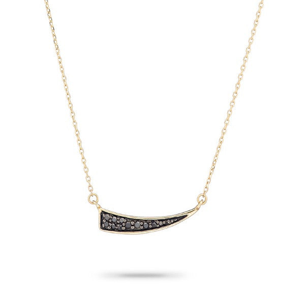 Small Pave Diamond Tusk Necklace