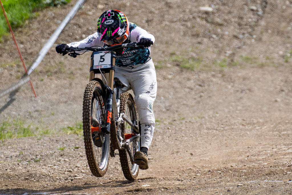 Thibaut Diprela across the finish line in the DH World Cup Leogang 2021