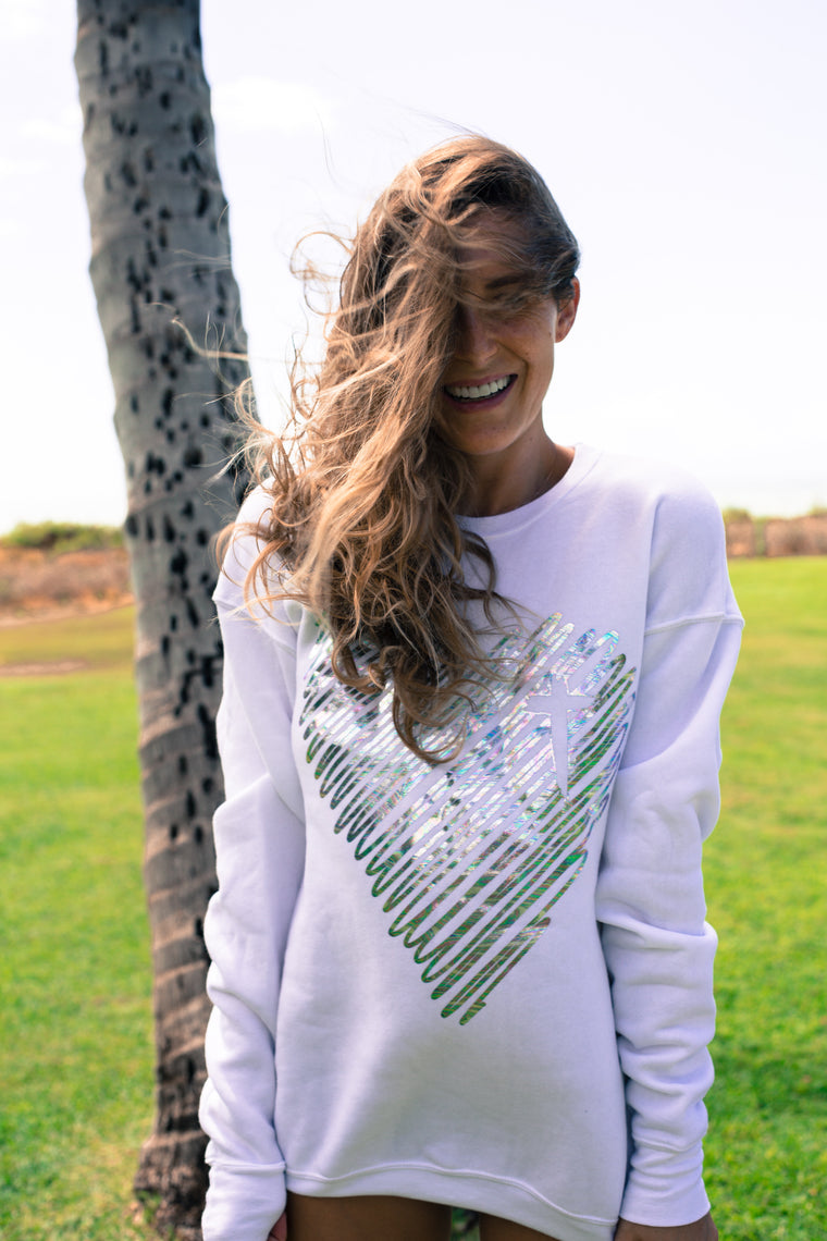 Scribble Heart Pullover (Iridescent Foil)