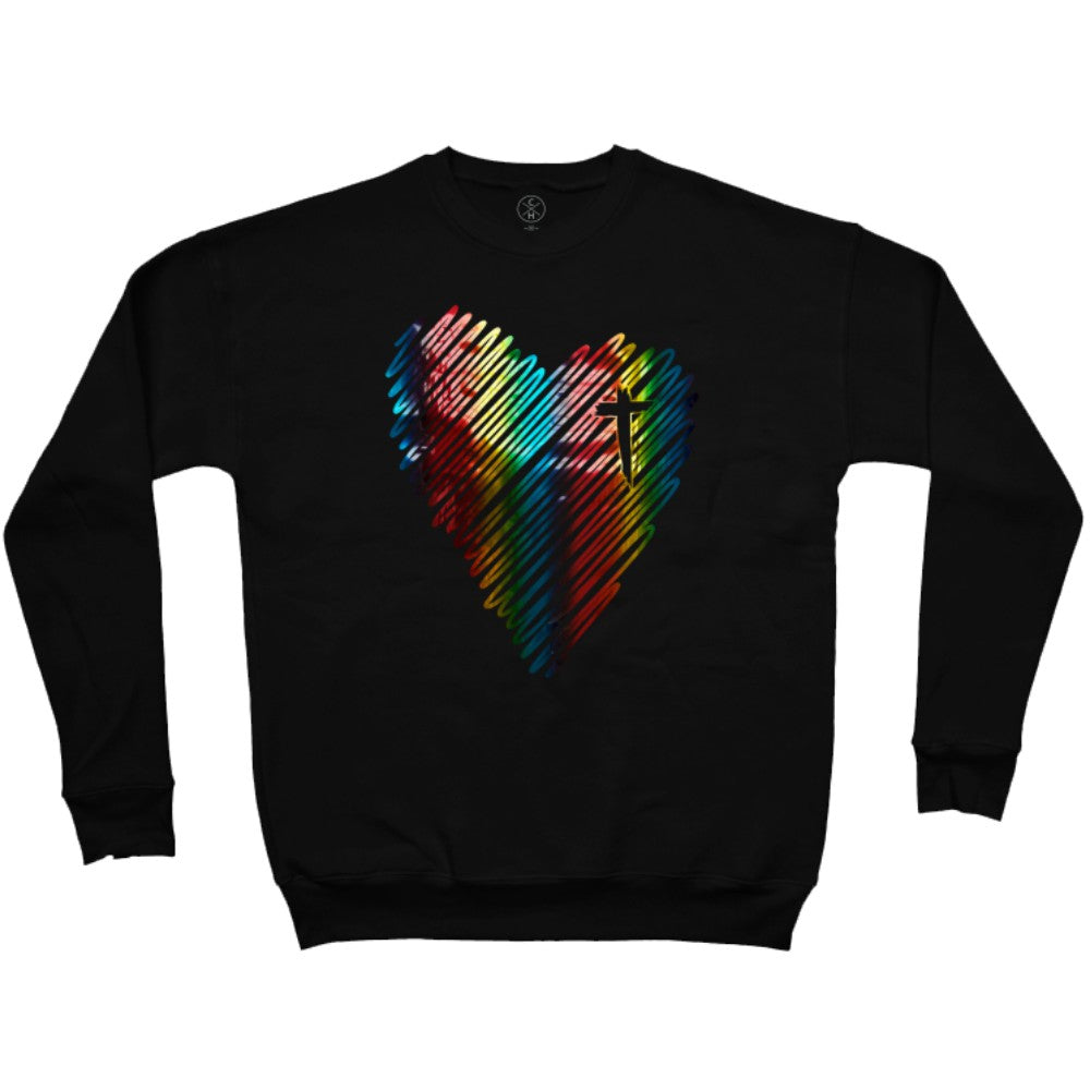 """God's promise"" Scribble Heart Pullover (Rainbow Foil)"