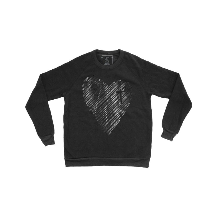 Scribble Heart Pullover (Gun Metal)